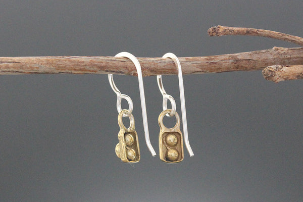 Tiny Brass Element Earrings