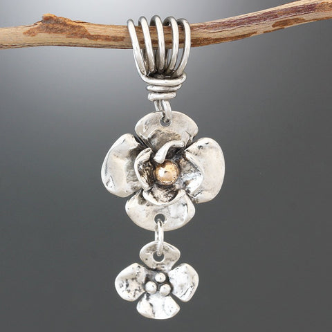 Sterling Silver and Rose Gold Double Dogwood with Dogwood Drop Pendant