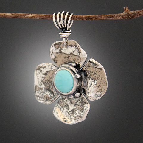 Sterling Silver Light Blue Turquoise Pendant