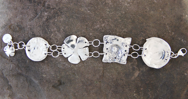 Copper & Sterling Silver Four Element Bracelet with Varies Stones