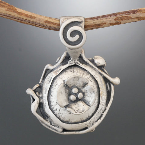 Matte Finish Sterling Silver Structured Pendant with Dogwood Flower and Spiral Bail