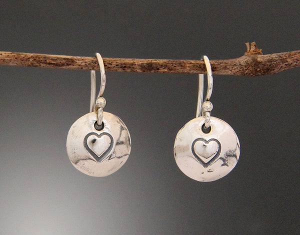 Sterling Silver Heart Stamped Disk Earrings