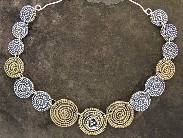 Brass & Sterling Silver Beaded Spiral Necklace with Dogwood Flower Center