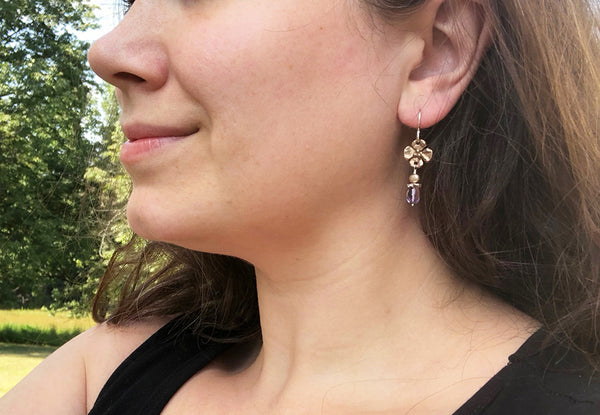 Bronze Dogwood Flower Earring with Stone Drop