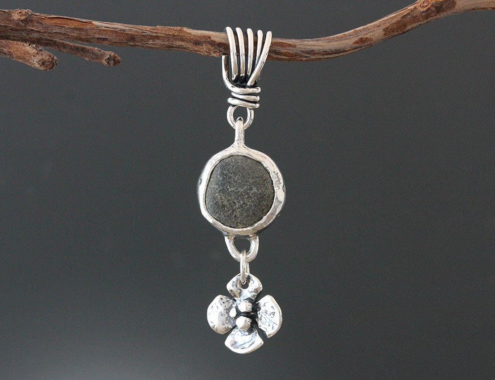 Sterling Silver River Stone Pendant with Dogwood Flower Drop