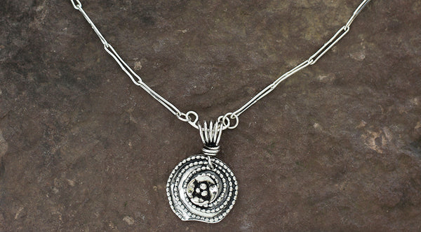 Sterling Silver Beaded Spiral with Dogwood Flower Pendant - Large