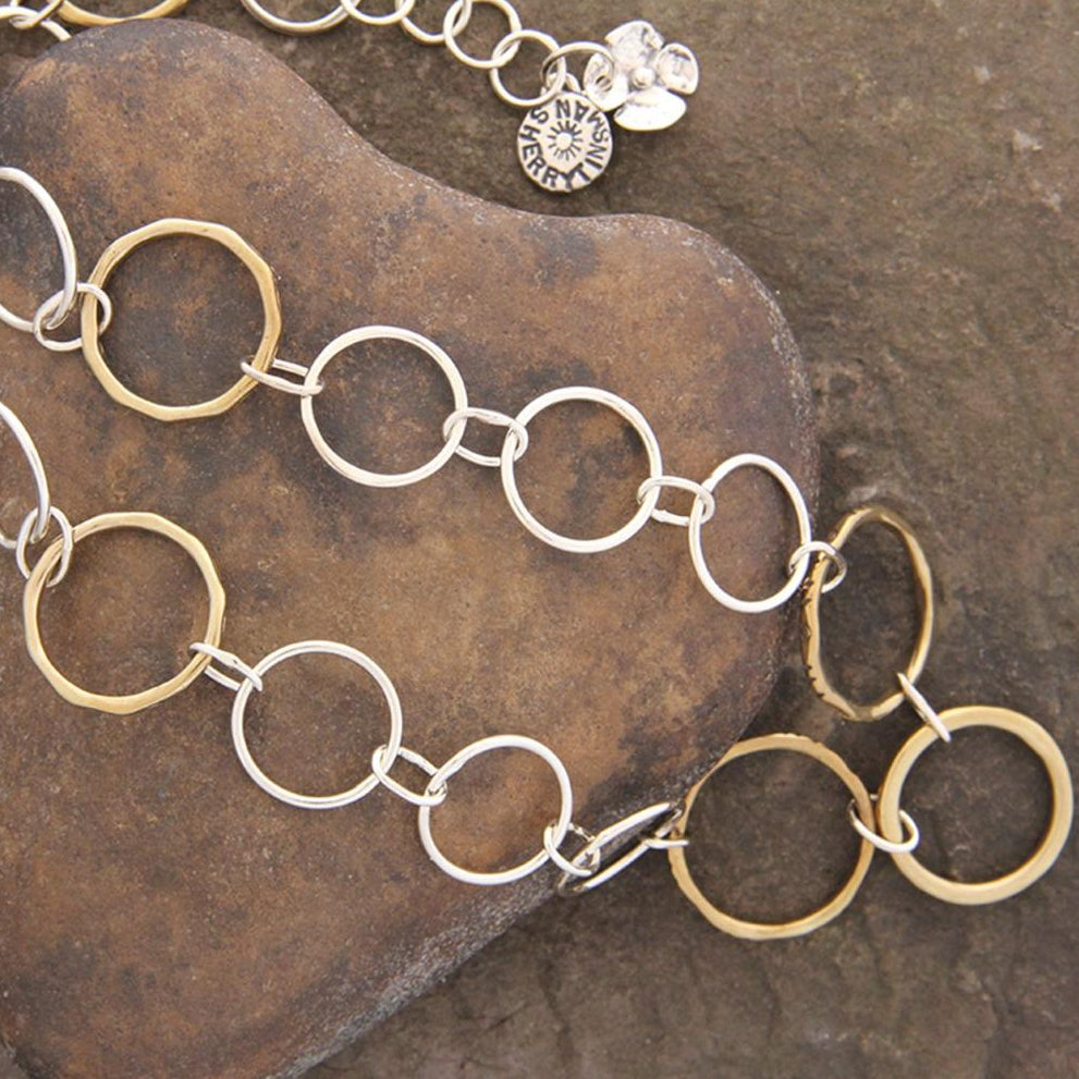 Brass & Sterling Silver Hoop Chain Necklace
