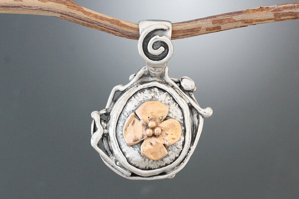 Gold Dogwood Structured Pendant with Spiral Bail