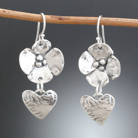 Sterling Silver Dogwood Flower and Heart Drop Earrings