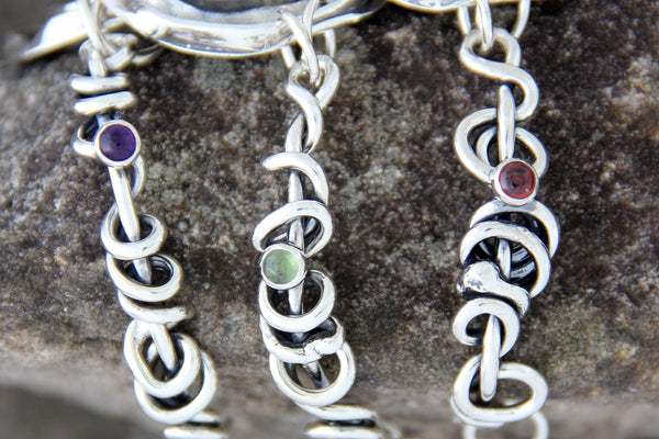 Rose Bracelet with Wrapped Vine Sides and Garnet, Amethyst or Peridot