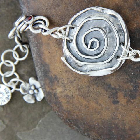 Sterling Silver Rose Bracelet with Wrapped Vine Sides and Garnet, Amethyst or Peridot