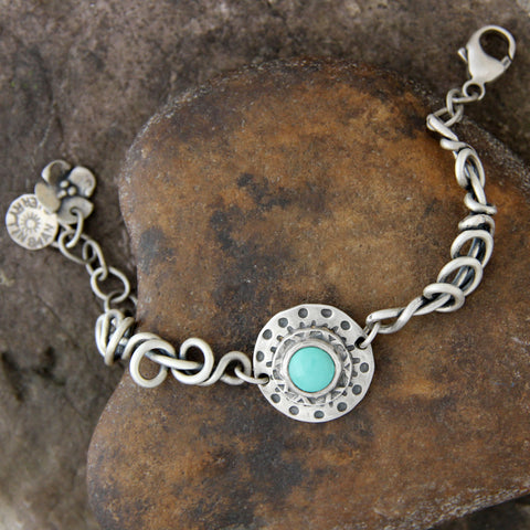 Matte Finish Wrapped Vine Bracelet with Turquoise