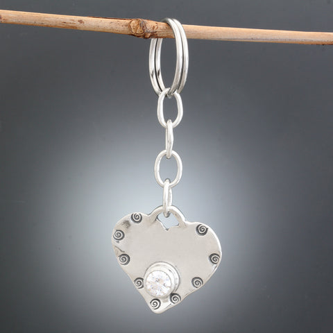 Sterling Silver and CZ Heart Keychain