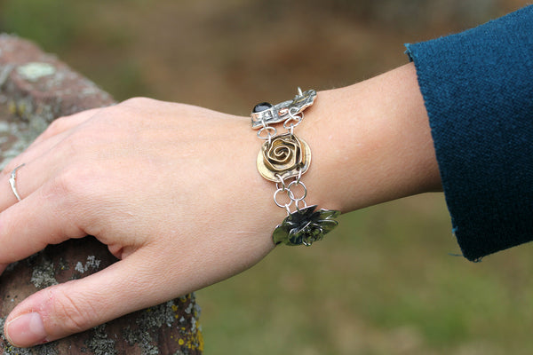 Mixed Metal Four Element Bracelet with Garnet