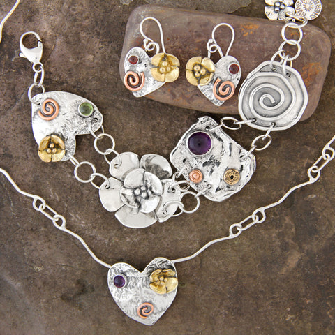 Mixed Metal Heart Jewelry Set with Necklace, Bracelet and Earrings
