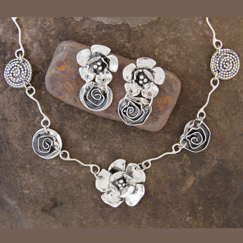 Double Dogwood Flower, Rose & Beaded Spiral Jewelry Set