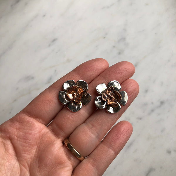 Sterling Silver & Rose Gold Double Dogwood Earrings