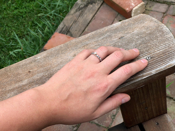 Nordic Stacking Ring with CZ in 14k Gold Bezel