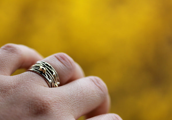 Sterling Silver and Gold Band Ring 3