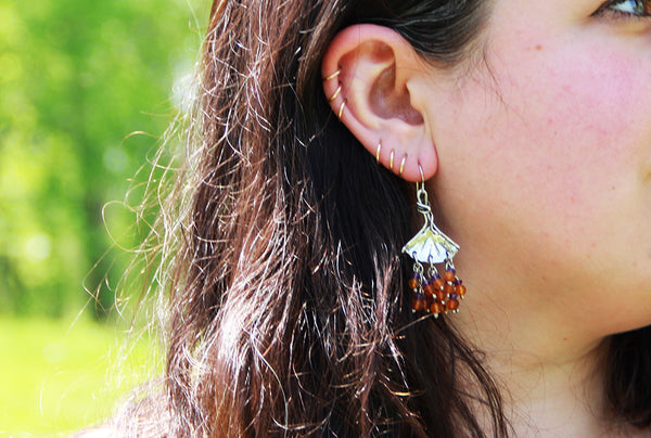 Sterling Silver Ginkgo Earrings with Coral Stone Clusters