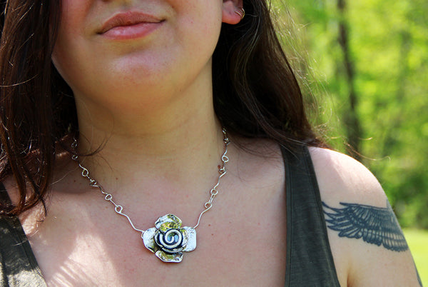 Sterling Silver Double Flower with Large Spiral Center Necklace