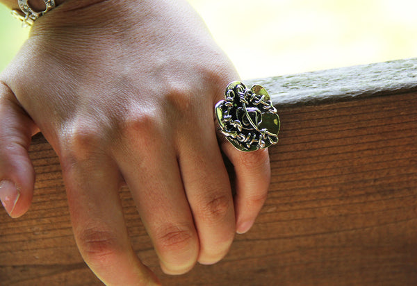 Sterling Silver Abstract Vine Flower Ring