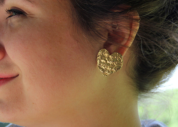 Large Brass Reticulated Heart Earrings