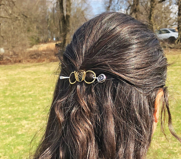 Brass Hair Pin Barrette with Mixed Metal Stick