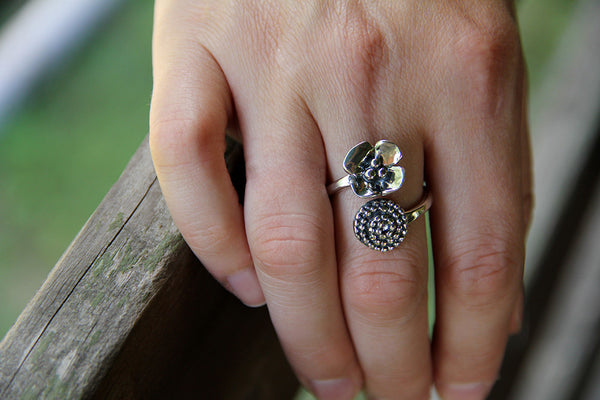 Sterling Silver Beaded Spiral & Dogwood Flare Ring