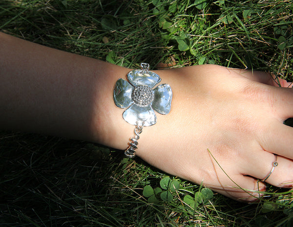 Sterling Silver Beaded Spiral Flower Bracelet