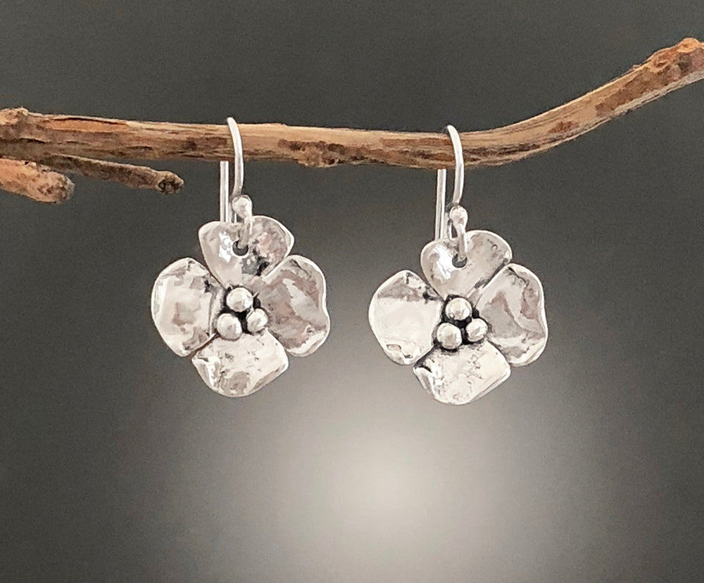 Sterling Silver Dogwood Flower Earrings