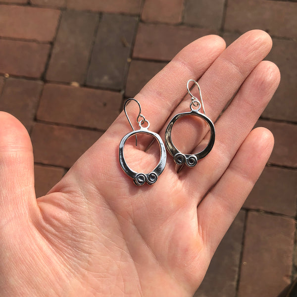 Sterling Silver Hoops with Swirls