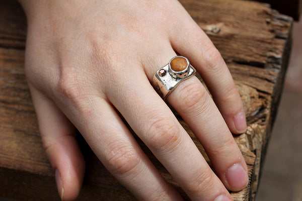 Sterling Silver River Stone Ring with 14k Rose Gold Ball