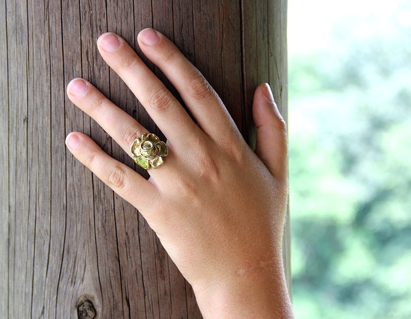 Brass Flower Ring with Vines