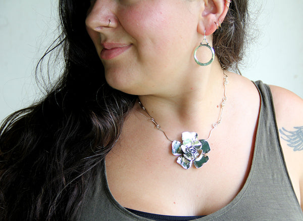 Sterling Silver Double Petal Rose Necklace