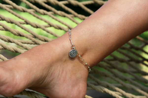Sterling Silver Beaded Spiral Anklet