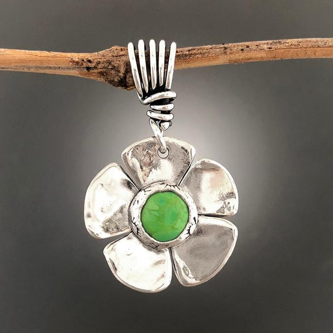 Sterling Silver Dogwood Flower with Gaspeite Pendant