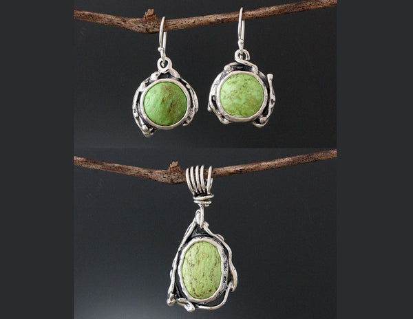 Sterling Silver Gaspeite Vine Jewelry Set