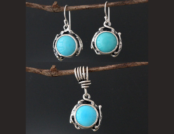 Sterling Silver Vine Turquoise Jewelry Set