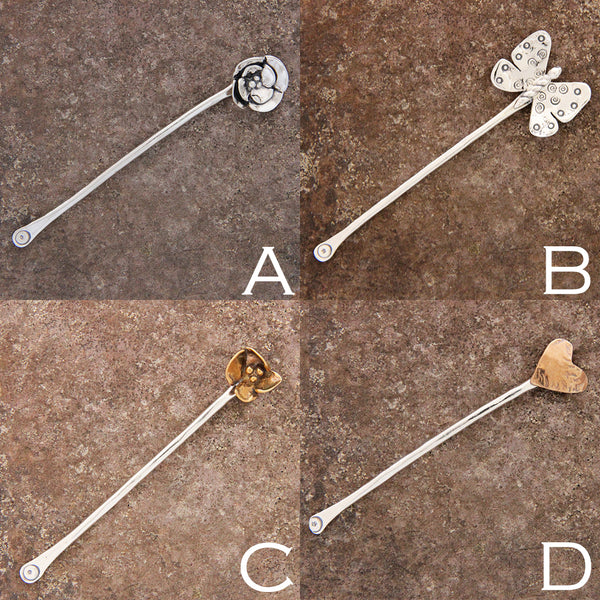 Sterling Silver or Brass Hair Pin Barrette
