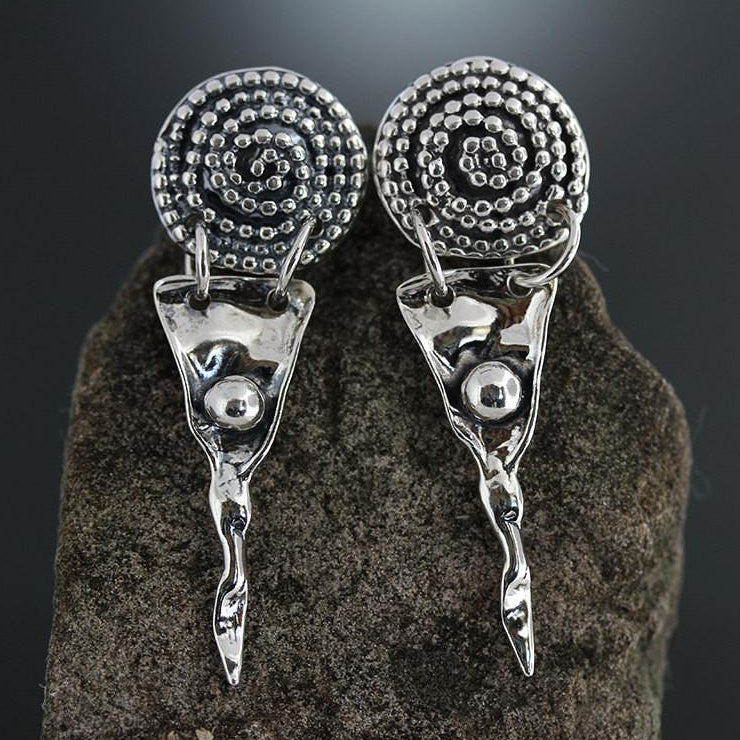 Sterling Silver Beaded Spiral with Tapered Drop Earrings