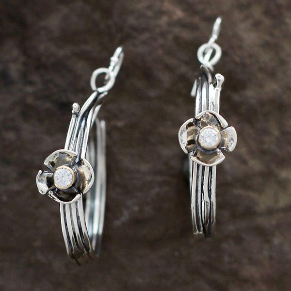 Sterling Silver Vine Hoop Earrings with Cubic Zirconia Set in Dogwood Flower