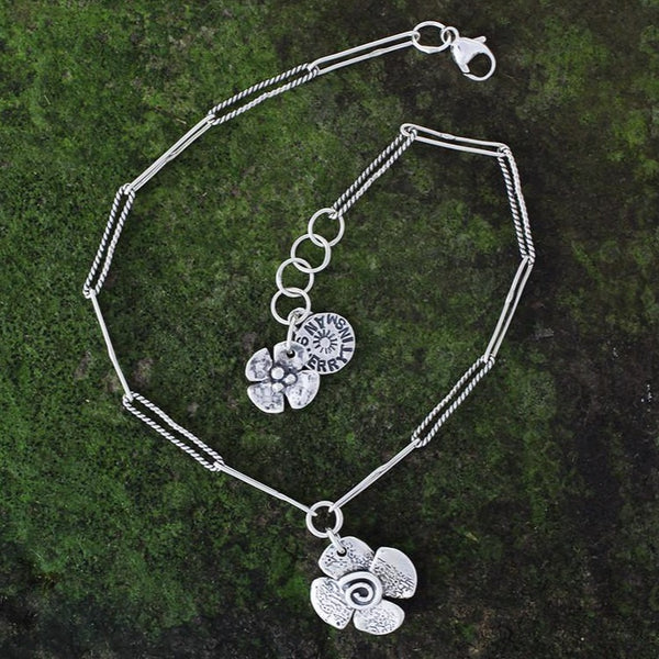 Reversible Flower Charm Anklet