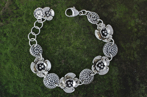 Sterling Silver Double Dogwood Flower and Beaded Spiral Bracelet