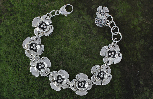 Sterling Silver Double Dogwood Flower Bracelet