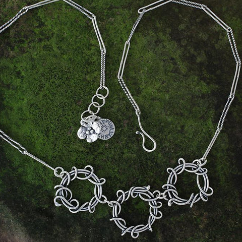 Sterling Silver Triple Wrapped Vine Hoop Necklace