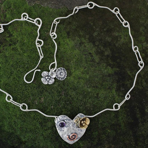 Mixed Metal Heart Necklace with Stone