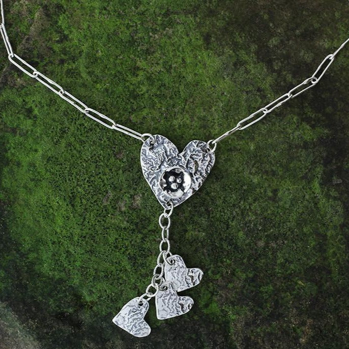 Heart with Heart Cluster Necklace