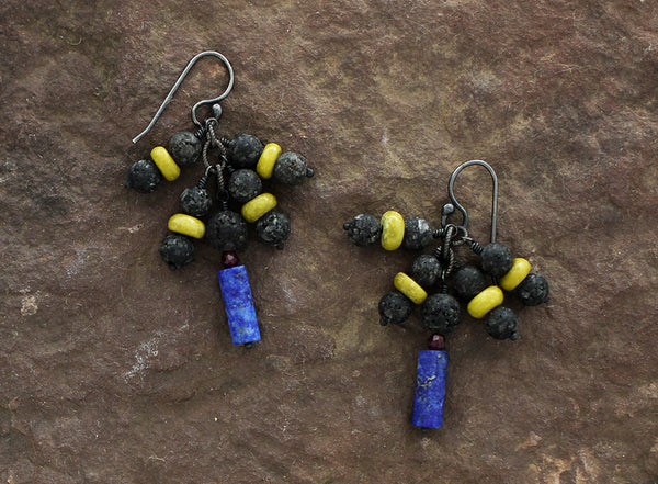 Sterling Silver Raw Lava and Lapis Lazuli Earrings