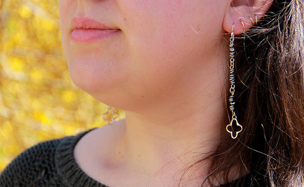 Sterling Silver Textured Wrapped Vine and Quatrefoil Earrings